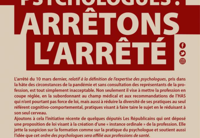 Forum Psychologues : Arrêtons l'arrêté