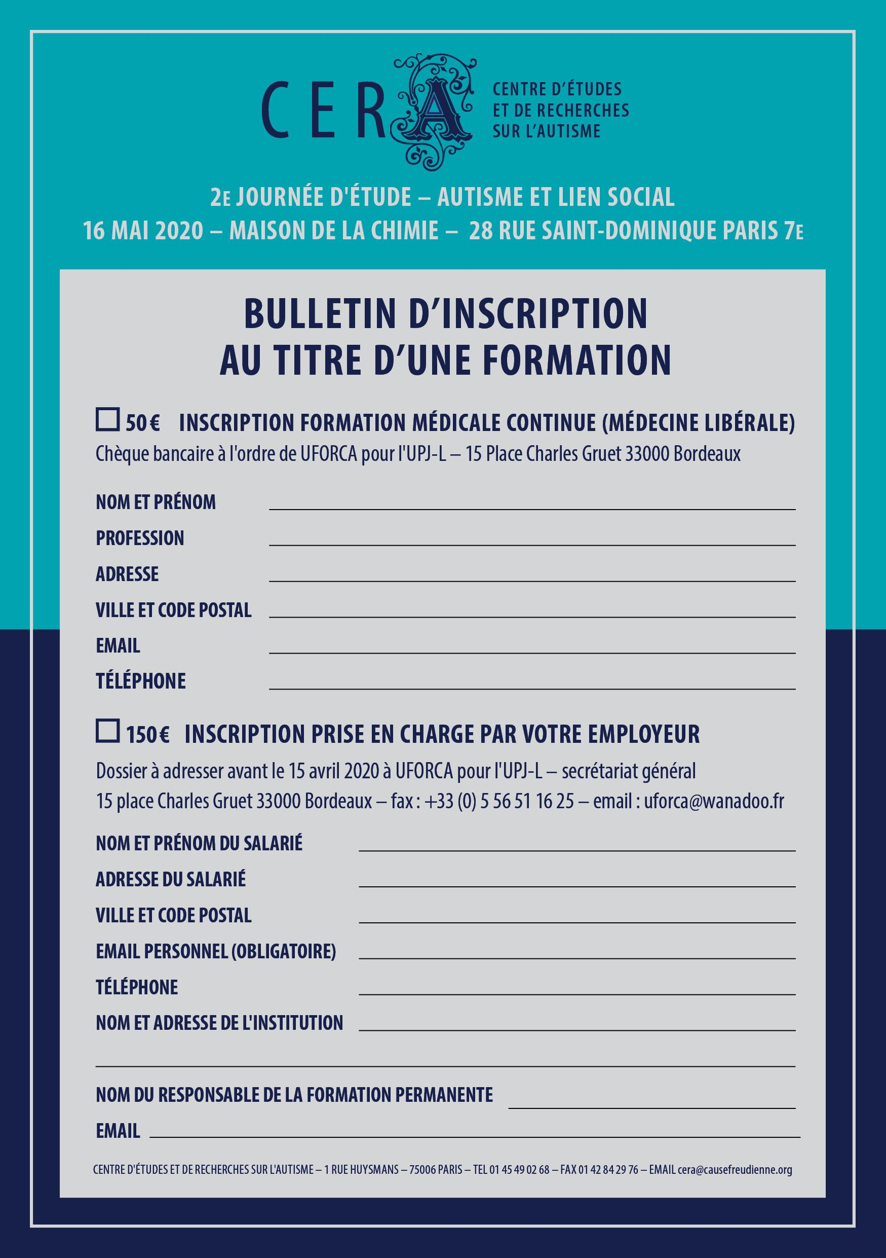 Formulaire Inscription Formation