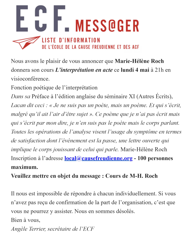 enseignements en live M-H.Roch